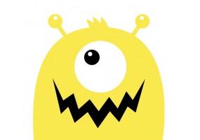 Sticker monstre jaune cyclope