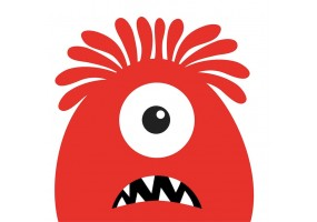 Sticker monstre rouge cyclope