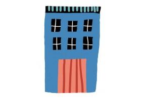 Sticker maison bleue