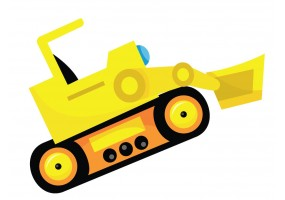 Sticker mur bulldozer jaune