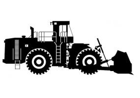 Sticker bulldozer noir