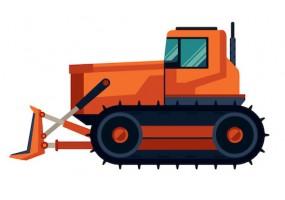 Sticker bulldozer orange chantier
