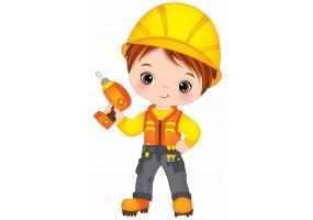 Sticker ouvrier casque perceuse