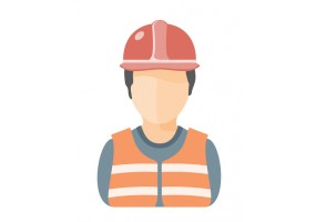 Sticker ouvrier gilet orange