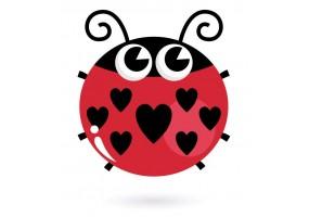 Sticker coccinelle cœur