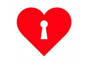 Sticker cœur clef