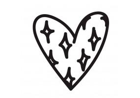Sticker cœur étoiles noires