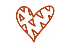 Sticker cœur marron motif