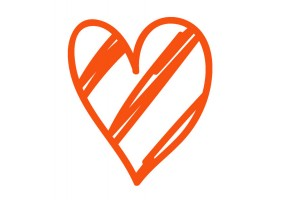 Sticker cœur orange motif