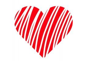 Sticker cœur rayure