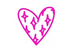 Sticker cœur rose étoile
