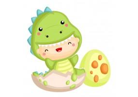 Sticker bébé déguisement dinosaure