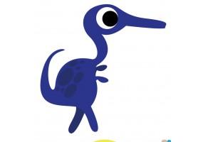 Sticker dinosaure bec bleu