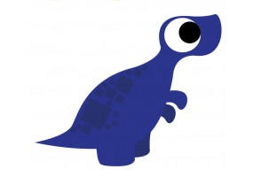 Sticker dinosaure bleu