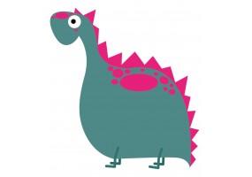 Sticker dinosaure vert rose