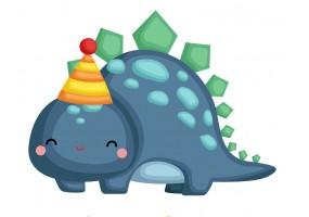 Sticker dinosaure chapeau anniversaire