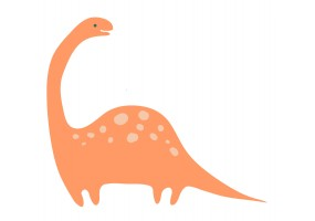 Sticker dinosaure grand orange