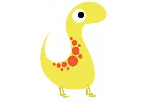 Sticker dinosaure orange jaune