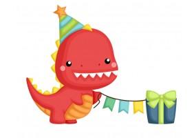 Sticker dinosaure rouge anniversaire