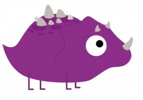 Sticker dinosaure violet