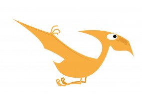 Sticker dinosaure volant orange