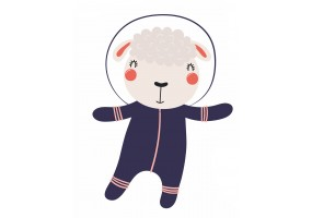 Sticker astronaute animal mouton