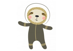 Sticker astronaute animal paresseux