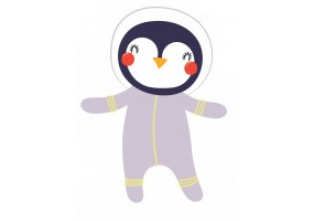 Sticker astronaute animal pingouin