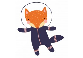 Sticker astronaute animal renard