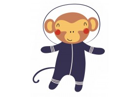 Sticker astronaute animal singe