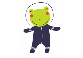 Sticker astronaute animal grenouille