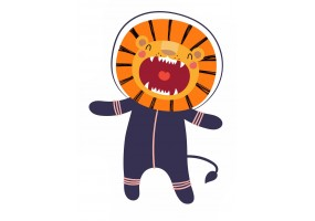 Sticker astronaute animal lion