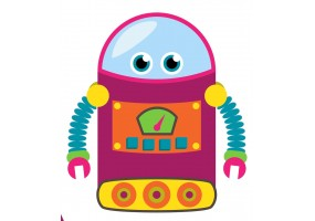 Sticker robot violet