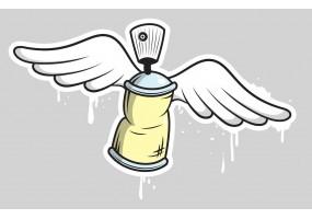 Sticker bombe peinture tag blanche ailes