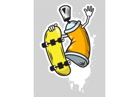 Sticker bombe peinture tag orange skate