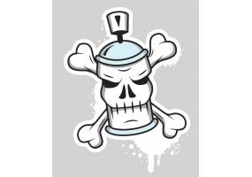 Sticker bombe peinture tag tête de mort