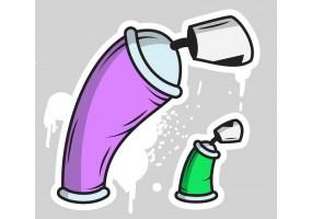 Sticker bombes peinture tag verte violette