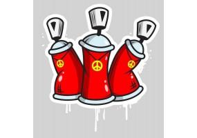 Sticker bombes peinture tag rouge