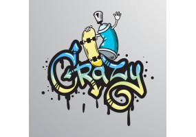 Sticker graffiti street art crazy