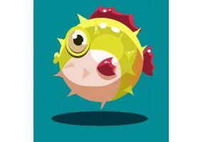 Sticker poisson boule gonfle