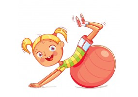 Sticker fille gymnastique ballon