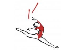 Sticker gymnaste rouge