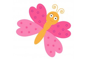 Sticker mural papillon rose