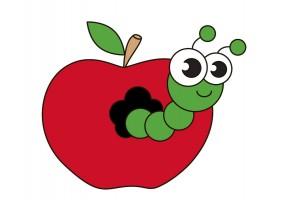 Sticker asticot pomme
