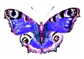 Sticker papillon violet