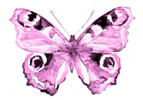 Sticker papillon rose pastel
