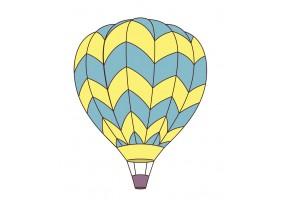 Sticker mural montgolfière jaune bleue