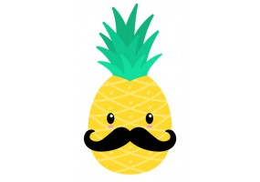 Sticker mural ananas moustache