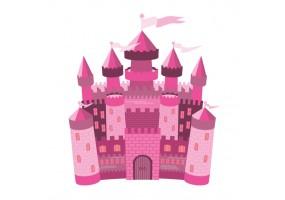 Sticker château princesse rose