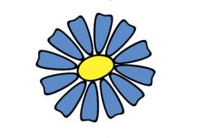Sticker fleur pétales bleues